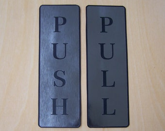 "Push and Pull Front Door Sign Laser Engraved Sticker Silver & Gold - Silver Brushed Set 2"" wide x 6"" High / 5cm x 15cm"