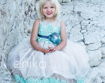 Wedding girl dress in mocca color witch mint color, flower girl dress collection of Joanna color mint and mocca
