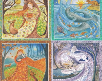 Summer Winter SOLSTICE Autumn Spring EQUINOX Festival Greeting CARDS Pagan Goddess Celtic Wendy Andrew