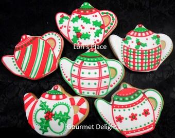 Christmas Teapot Cookies - 12 Cookies