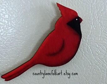 cardinal refrigerator magnet, kitchen magnet, hand painted, gift for gardeners, fridge magnet, spring home decor, gift mom gift, bird decor