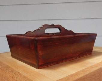 Solid Wood Cutlery Tray with Handle and Decorative Work, Divided Tray