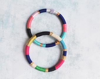 2 Wrap bracelet - bangle - cuff bracelet -fabric bracelet - boho