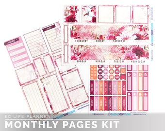 Fall Floral Monthly Kit for Erin Condren Life Planner (133 matte stickers)