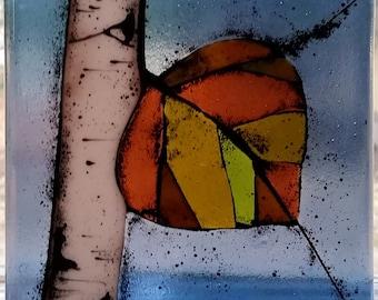 Mosaic Aspen Leaf Fused Glass Decorative Tile