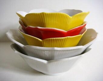 5 Lotus Bowls - Asian Cuisine Tulip Bowls Asian Cooking Fondue