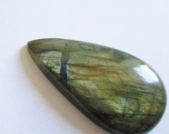 Labradorite - ref63298 - undrilled - 50x26x7mm (blue green gold highlights)