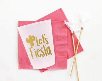Fiesta Cups Birthday Party Plastic Cups Mexican Themed Cups Let's Fiesta Party Supplies Bachelorette Party Cups Cinco De Mayo Decorations