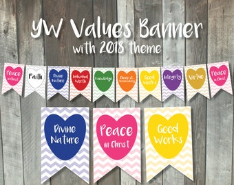 Printable Young Women Values Banner | LDS New Beginnings pennant | Peace in Christ 2018 | YW in Excellence bunting chalkboard decoration