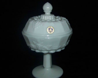 Vintage Westmoreland Glass White Milk Glass Paneled Grape Lidded Compote Signed