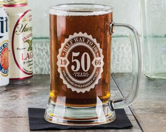 50th Birthday Half way to 100 16Oz Beer Stein Mug Engraved Gift Idea Etched Daddy Pop Birthday Present Uncle for Him Funny Bifthday Gift
