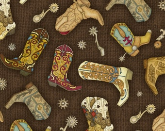 RODEO ROUNDUP Henry Glass tossed cowboy boots on brown quilters cotton fabric by the half yard 6905-33