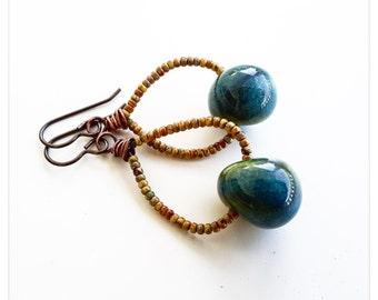 Teal and yellow beaded hoops - porcelain bead hoop earrings - ceramic hoop earrings - boho hoops