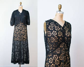 1930s Black Lace Dress / 30s Dress and Bolero