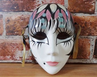 Vintage decorative Venetian style mask pottery hand painted wall hanging