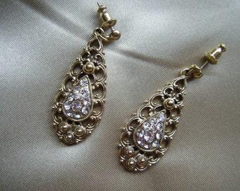 VTG 1928 Company Gold Teardrop and Rhinestone  Earrings//Free Shipping