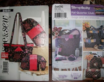 Simplicity 5606 or Butterick B4644...Fat Quarter Purses...Bags and Accessories..See & Sew..Tote Bags, Purses