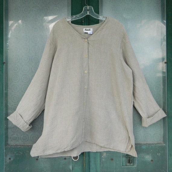 FLAX Engelheart Long Sleeve Whole Shirt -L- Natural Linen