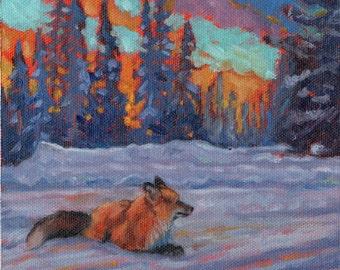 Chilcotin Blues, red fox painting, wildlife art, landscape