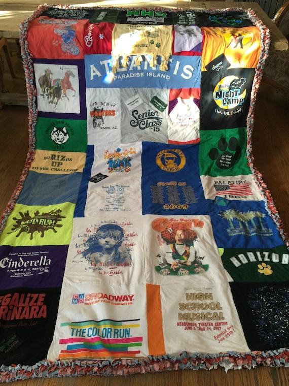 Ragged T-Shirt Blanket Quilt, Custom Made, Memory blanket, T-Shirt Blanket, T-Shirt quilt, Handmade blanket
