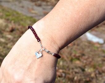 Garnet Gemstone Bracelet, Valentine Gift for Her, Beaded Bracelet, January Birthstone, Sterling Silver Heart Charm, Dainty Stacking Bracelet