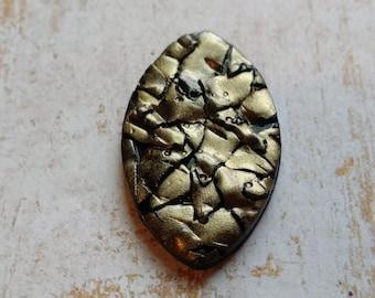 Raku Style Polymer Clay Cabochon -Gold