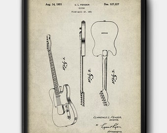 Fender Telecaster · Guitar · 1951 · Patent · Instant Download · Music instrument · Vintage · Printable #219