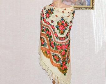 Pavlovo Posad large wool shawl White Russian shawl chale Russe vintage scarf wool shawl Russian floral shawl Russian shawls Wool fringe