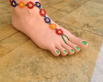 Multi colored flower barefoot sandal