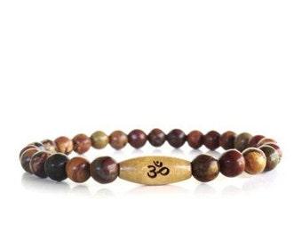 Om Mala Bracelet Picasso Jasper Namaste Strength Meditation Peace Yoga Jewelry Unique Earthy Birthday Gift Under 50 Item P51
