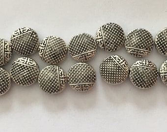 Textured Disc Beads -20 -  Metal - Silver