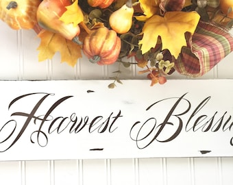 Farmhouse Fall Sign - Fall Decor - Harvest Blessings Sign - Chippy Decor - Rustic Wood Sign - Welcome Sign - Autumn Decor - Rustic Fall Sign