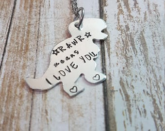 RAWR means I love you hand stamped dinosaur T Rex necklace