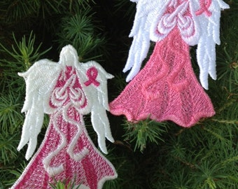 Awareness Angel, Memorial Angel, Cancer Awareness Ornament, Machine Embroidery Angel, Lace Awareness Angel, Memorial Angel
