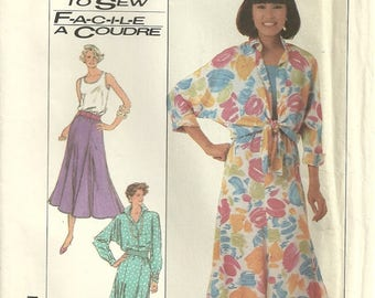 Simplicity 8018 Easy Misses Vintage Big Comfy Dolman Sleeve Shirt Top & Skirt Sewing Pattern Size 6 - 8 - 10 - 12 Easy to Sew
