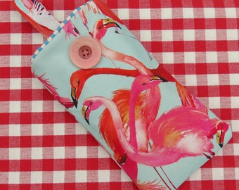 Glasses Sleeve.  Sunglasses Pouch.  Flamingos design.