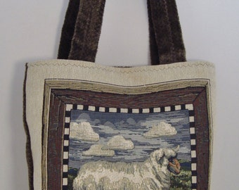 Handcrafted Tapestry Tote Bag Fully-lined with Interior Pockets