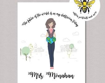 Personalized Teacher Gift, Custom Portrait