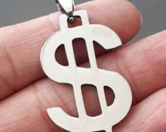 "1.5"" Plished stainless steel US Dollar Charm pendants-silver Money Charm PENDANT"