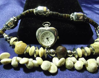 Woman's Quartz Watch with 3 Beaded Bands (Shells & Brown ) B125