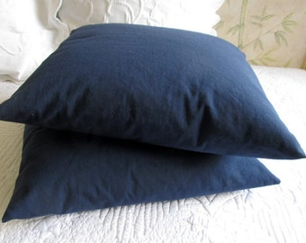 20 inch square navy cotton duck pillow covers