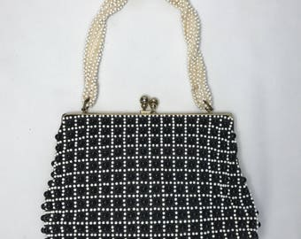 Vintage 1950s Beaded Black and White purse