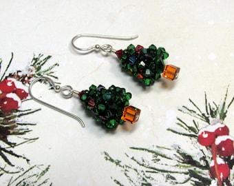 Christmas Tree Earrings, Tree Earrings, Christmas Earrings, Holiday Earrings, Swarovski Earrings, Green Earrings, Christmas Jewelry, Dangle