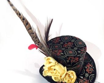 Black, Gold and Red Dragon Oriental Brocade Mini Top Hat - Gothic Lolita, Mad Hatter, Steampunk Wedding, Victorian Wedding, Derby Facinator