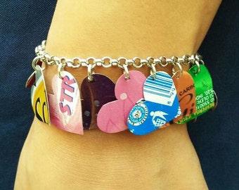Charm bracelet hearts soda can, FREE SHIPPING, eco friendly bracelets, Upcycled Recycled bracelet,  Charm Bracelet, bracelets for women