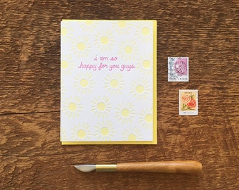 So Happy For You Guys, Congratulations, Letterpress Note Card, Blank Inside