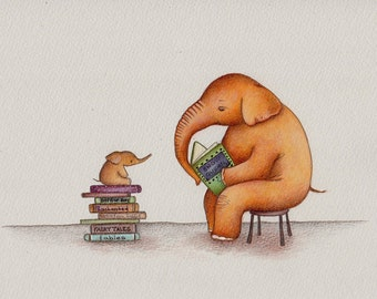 Elephant Daddy Reading to Baby, art print from an original  illustration by Irene Owens