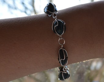 Bloodstone Cage Silver Plated Bracelet
