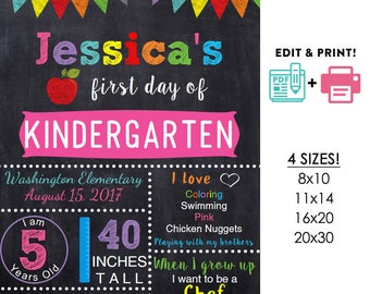 GIRLS editable printable First day of school sign | any grade DIY chalkboard poster Instant download 16x20 or 11x14 or 20x30 8x10
