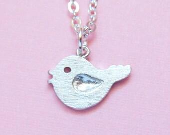 Chirpy Bird Necklace - rhodium plated little bird